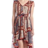 Mixed-Print Hi-Lo Dress, Storm Combo