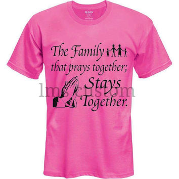 Custom clothing/custom t-shirt/custom gifts/funny shirts/Add logo picture text/trust god/unisex clothing/family together pray together shirt