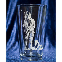 Engraved Fan Art Pint Glasses - Fett, Solo, R2 and Luke Fan Art Engraved 16oz Pint Glasses