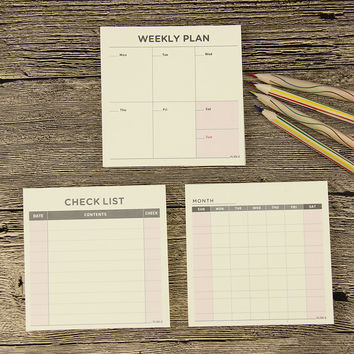 1 Pcs Weekly Monthly Work Plan Tear Mini Check List Daily Agenda Notebook Message Note Work Schedule Filofax