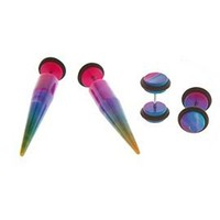 Rainbow Watercolor  Faux Taper And Plug 4 Pack - 127066