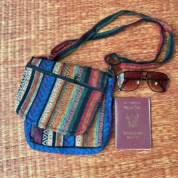 Multicolored Woven Cross body bag Tribal Boho Unisex Hippie festival Ikat Aztec Bohemian Style Fashion Women Men Vegan Unique Gift Handmade