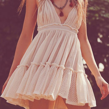 White Pleated Halter Backless Skater Dress