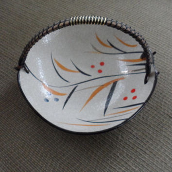 G C SAPANT Faux CLOISONNE Ceramic Bowl with Handle / Made in Japan /  Mid Century Candy Dish Ceramic Bowl / Excellent Vintage Condition