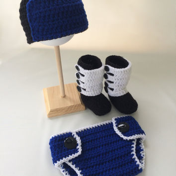 Baby Motocross Dirt Bike Rider Gear 4 pc Crochet Diaper Cover Set - Motocross Boots - MX Gear - Motocross Apparel - ATV - Baby Shower Gift