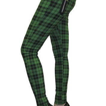 Green Check | SKINNY JEANS