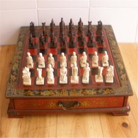 Collectibles Vintage Chinese Terracotta Warriors 32 Chess Set & Leather Wood Box Flower Bird Table