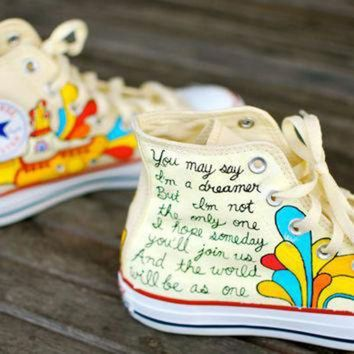 CREYUG7 Hand Painted Yellow Submarine Beatles Hi Top White Converse Chuck Taylor All Star Snea