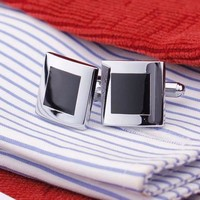 Formal Introduction Stainless Steel & Black Enamel Square Flip Cufflinks