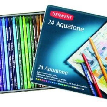 Derwent Aquatone Woodless Watercolor Pencils, 7mm Core, Metal Tin, 12 Count (0700173)