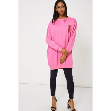 Pink Oversized Sweatshirt With Floral Rose Detail