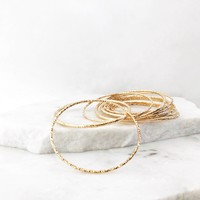 New Day Bangle Bracelet Set in Gold