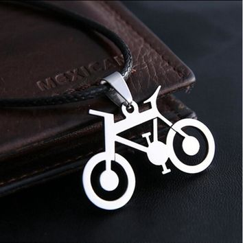 Dragon Bicycle Pendant Necklace stainless steel necklace For Women party Leather Chain Chinese Totem Men Necklaces