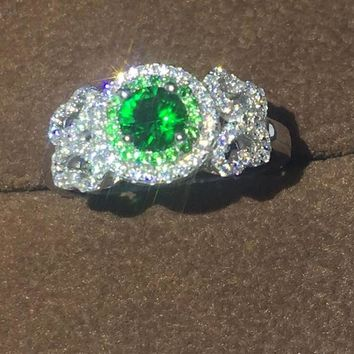 100% Genuine 925 sterling Silver ring 1ct Diamonique Green Cz Engagement Wedding Band Ring For Women Birthstone