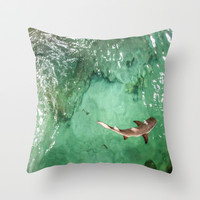 Look at the Shark Throw Pillow by gwendalyn abrams
