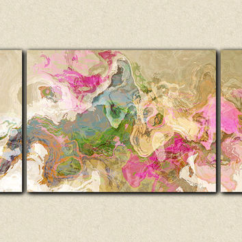 "Abstract art, large 30x60 to 40x78 triptych gallery wrap giclee canvas print, in pastel colors from abstract painting ""Dream a Little Dream"""