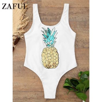 ZAFUL Sequined Pineapple One Piece Swimwear Women Sexy High Cut Swimsuit Backless Monokini Bathing Suit Bodysuit Beachwear Femme