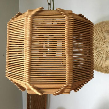 Wooden Light Fixture, 1970s Wooden Folk Art Hanging Light,  Wood Ceiling Light, Vintage Handmade Popsicle Lamp, Cool Hanging Lamp