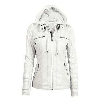 Womens Clothing Winter Faux Leather Hooded Jacket Zippered Hoodie Parkas Slim Motorcycle Jacket Coat