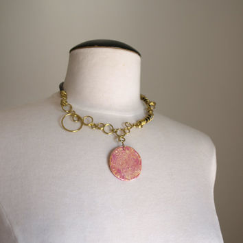 Pink Rustic Brass Necklace, Wire Wrapped choker, OOAK