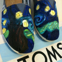 Starry Night Custom TOMS Shoes by specklesofpaint on Etsy