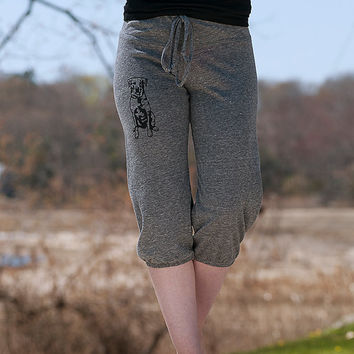 sit...stay...wander...Lab Cropped Pants, Dog Pants, Workout Pants, S,M,L,XL