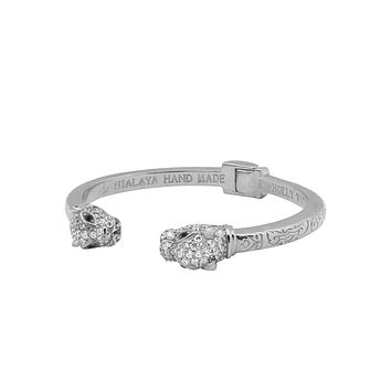 Men's Panther Bangle in Silver