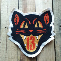 Black Cat 13 Chainstitched Patch