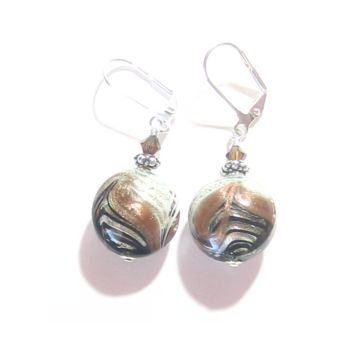 Murano Glass Zebra Black Brown Disc Silver Earrings, Venetian Italian Jewelry