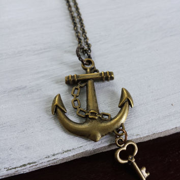 Anchor Key Necklace by SBC, Antique Bronze Anchor, Bronze Heart Key, Antique Bronze Chain, Anchor Heart Necklace, Lost Heart at Sea