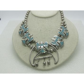 "Sterling Turquoise Squash Blossom Necklace, Peyote Bird,  16"", 77.30 grams"