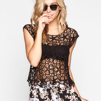 H.I.P. Allover Floral Crochet Womens Top Black  In Sizes
