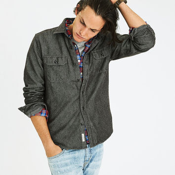 AEO Solid Twill Shirt Jacket, Gray