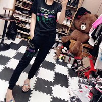 """Gucci"" Women Casual Fashion Hot Fix Rhinestone Graffiti Letter Short Sleeve Trousers Set Two-Piece Sportswear"