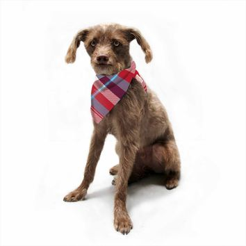 "Kess Original ""Red Blue White Plaid"" Blue Red Pattern Digital Pet Bandana"