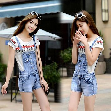 summer 2017 new women jeans elastic suspenders denim shorts Bib Jumpsuits Rompers jeans overalls Women brand design girl style