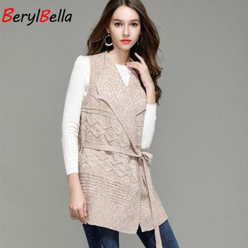 BerylBella 2018 Fall women knitted cardigan sleeveless vest sweater jacket loose lace up female Lapel collar