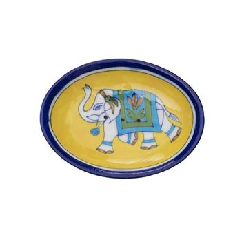 Blue Pottery Elephant Soap Dish - Yellow - Matr Boomie