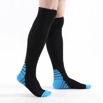 Men Women Compression Socks blue Fit for Knee High Breathable Socks Travel Boost Leg Support Stretch Compression Calcetin