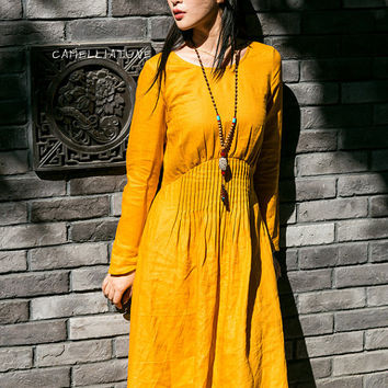 evening dress in yellow with pleated empire waist, maxi linen dress, long sleeve cocktail dress, party dress, boho dress, linen winter dress
