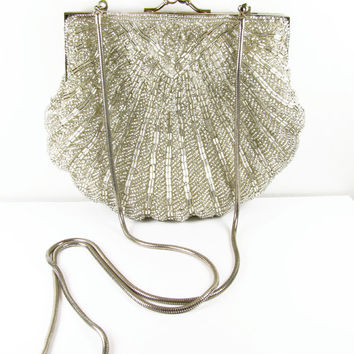 59d5d9789 Vintage Beaded Purse in Silver Tone, Hand Made / Vintage Beaded