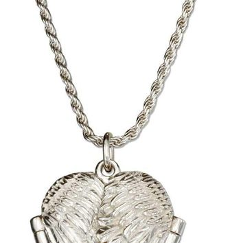 "Sterling Silver Necklaces:  18"" Angel Wings Heart Locket Necklace"