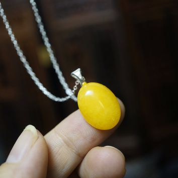 Tiny Yellow Jade Necklace, Sterling Silver Orange Jade Necklace Jade Pendant, Sterling Silver Yoga Necklace, Chakra Healing