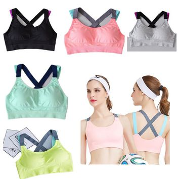 5 Colors Sexy Push Up Sports Bra Top Women For Fitness Yoga Cross Strap Womens Gym Running Padded Tank Athletic Vest Underwear