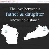 SALE Chalkboard Dad Print- Father's Day print, travel moving away, father daughter gift, state outline dad, papa grandfather, dad birthday g
