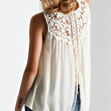 Crochet Lace-Up Back Top - Cream