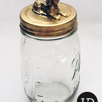 Gold Sphinx Decorative Theme Animal Mason Storage Jar (Egypt Series: Medium)