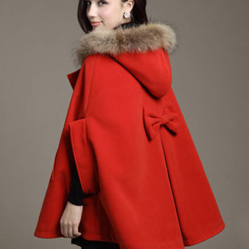 Horn Button Fur Hooded Coat with Back Bow