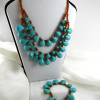 Magnesite Puffed Teardrop Bib Necklace with Matching Bracelet