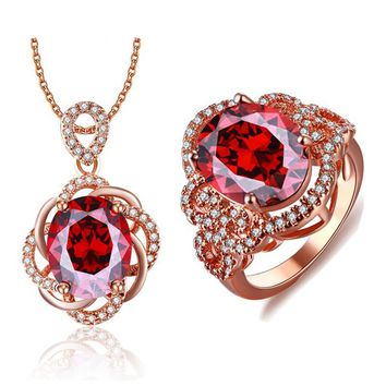 Fashion Rose Gold color Jewelry Sets Red CZ Crystal Bridal Jewelry Sets Boucle d'Oreille Pendante Jewellery ASM020